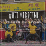 """This is an image of Dr. Khanita practicing kung fu in New York for Chinese New Year. The text includes the hashtag #HitMedicine and """"Chinese Medicine for Trauma - TCM for Martial Arts and Sports Injuries"""" Then the hashtag #ArayaAcupuncture"""