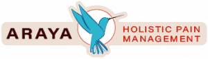 This is Araya Holistic Pain Management's logo, the horizontal version, featuring a hummingbird with an acupuncture needle for it's beak and the words Araya Holistic Pain Management